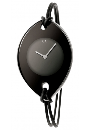 CALVIN KLEIN Women's Swiss Suspension Black Leather Strap 46x31mm