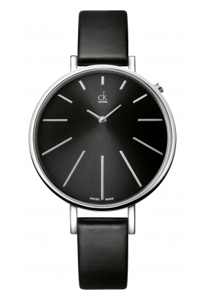 CALVIN KLEIN Equal Black Leather Stainless Steel Ladies Watch 41mm
