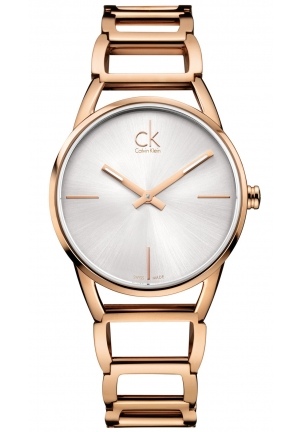CALVIN KLEIN Women's Swiss Stately Rose Gold PVD Stainless Steel Bracelet Watch 34mm