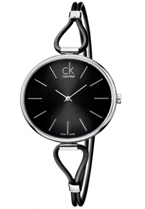 CALVIN KLEIN Women's Swiss Selection Black Leather Cord Strap 38mm