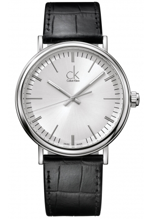 CALVIN KLEIN Men's Swiss Surround Black Leather Strap 43mm