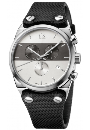 CALVIN KLEIN Men's Swiss Chronograph Eager Black Textile Strap 45mm