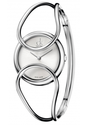 CALVIN KLEIN Women's Swiss Inclined Stainless Steel Bangle Bracelet 30mm