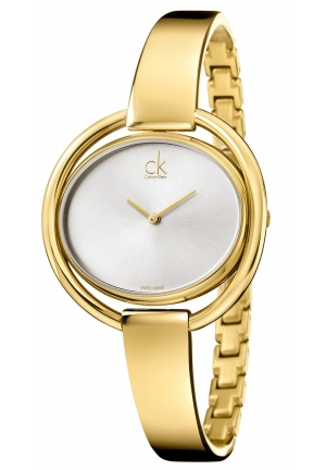 CALVIN KLEIN Women's Swiss Impetuous Gold PVD Stainless Steel Bangle Bracelet Watch 40mm