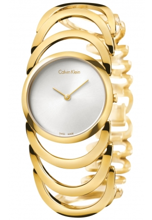 CALVIN KLEIN Women's Swiss Body Gold PVD Stainless Steel Bracelet Watch 30mm