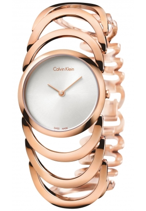 CALVIN KLEIN Women's Swiss Body Rose Gold PVD Stainless Steel Bracelet Watch 30mm