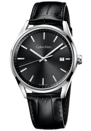 CALVIN KLEIN Men's Swiss Formality Black Leather Strap Watch 44mm