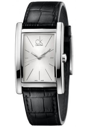 CALVIN KLEIN Men's Swiss Refine Black Leather Strap Watch 45x30mm