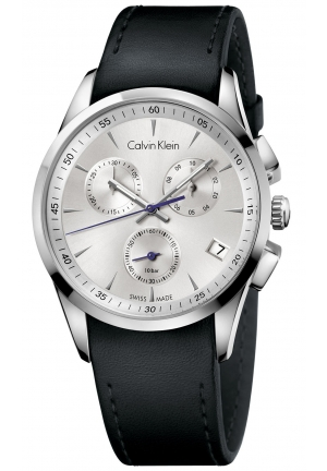 CALVIN KLEIN Men's Swiss Chronograph Bold Black Leather Strap Watch 41mm