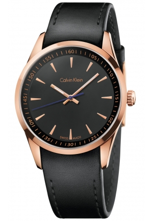 CALVIN KLEIN Men's Swiss Black Leather Strap Watch 41mm