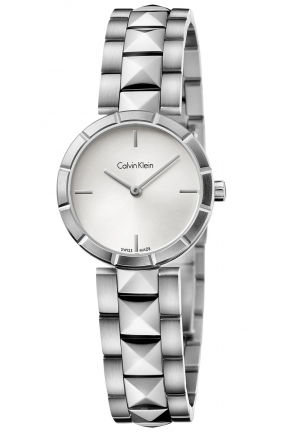 CALVIN KLEIN Women's Swiss Edge Studded Stainless Steel Bracelet Watch 30mm