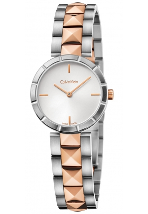 CALVIN KLEIN Women's Swiss Edge Rose Gold PVD Studded Stainless Steel Bracelet Watch 30mm