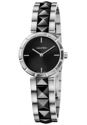 CALVIN KLEIN Women's Swiss Edge Black PVD Studded Stainless Steel Bracelet Watch 30mm