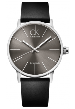 CALVIN KLEIN Men's Swiss Post-Minimal Black Leather Strap 42mm