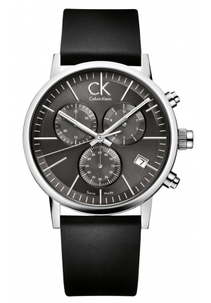CALVIN KLEIN Men's Swiss Chronograph Black Leather Strap 42mm