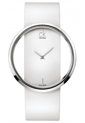 CALVIN KLEIN Women's Swiss Glam White Leather Strap 42mm
