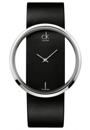 CALVIN KLEIN Women's Swiss Glam Black Leather Strap 42mm