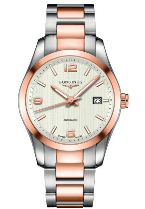 Longines Conquest Classic Automatic Silver Dial 18k Rose Gold Men's Watch L2.785.5.76.7