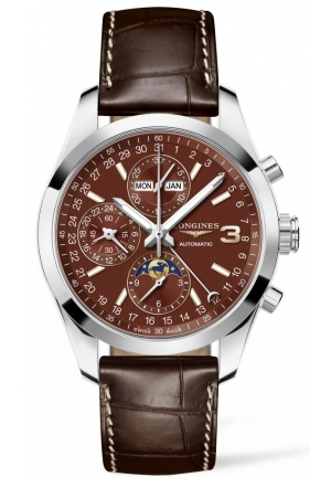 TRIPLE CROWN CONQUEST CHRONOGRAPH WITH MOON PHASE L27984623, 42 MM