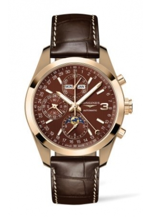 TRIPLE CROWN CONQUEST GOLD 18K CHRONOGRAPH WITH MOON PHASE L27988623, 42 MM