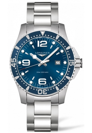 HYDROCONQUEST BLUE DIAL DIVING WATCH L38404966, 44MM
