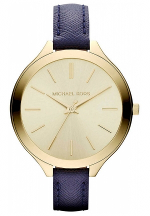 Ladies Gold-Tone Stainless Steel & Leather Watch 42mm