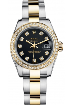 LADY-DATEJUST Oyster steel, yellow gold and diamonds M179383-0030, 26 mm