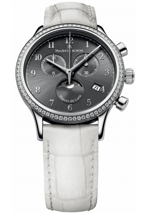 MAURICE LACROIX Les Classiques Phase De Lune Grey Dial White Leather Ladies Quartz Watch 38mm
