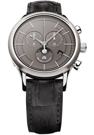 Maurice Lacroix Les Classiques Chronograph Phase de Lune Grey Dial Black Leather Strap Men's Quartz