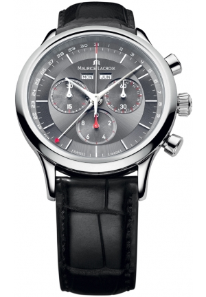 Les Classiques Chronograph Grey Dial Black Leather Men's Watch