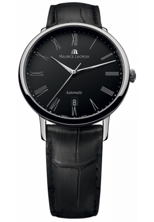 MAURICE LACROIX Les Classiques Tradition Automatic Black Dial Black Leather Strap Men's Watch 38mm