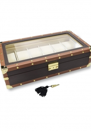 Leatherette Watch Box For 12 Watches, Brown