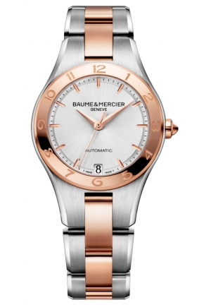BAUME & MERCIER White Dial Steel and 18k Rose Gold-Tone Ladies Watch 32mm