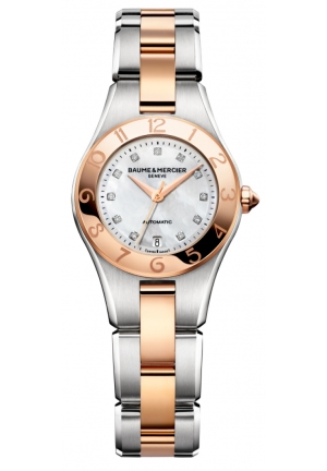 BAUME & MERCIER Mother of Pearl Diamond Dial 18kt Rose Gold Steel Ladies Watch 27mm