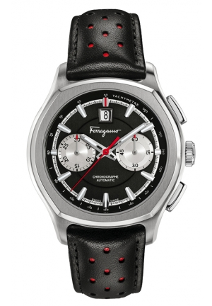 "Lungarno"" Stainless Steel Automatic Watch with Black Leather Band 44mm"