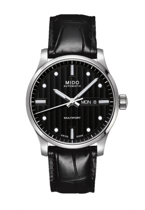 MULTIFORT AUTOMATIC BLACK DIAL BLACK LEATHER MEN'S WATCH M0054301603181, 42MM
