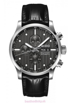 Mido Multifort Black Dial Black Leather Mens Watch M005.614.16.061.00 44mm