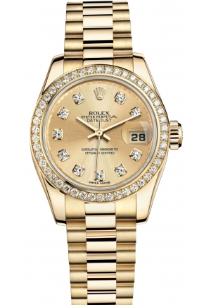 LADY-DATEJUST Oyster yellow gold and diamonds , M179138-0024 26 mm