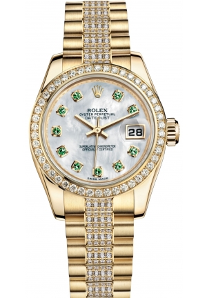 LADY-DATEJUST Oyster yellow gold and diamonds , M179138-0102 26 mm