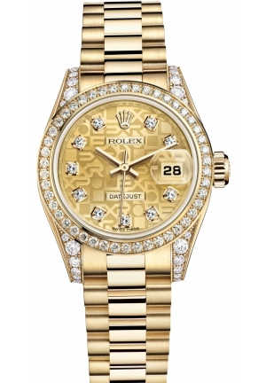 LADY-DATEJUST Oyster yellow gold and diamonds , M179158-0030 26 mm