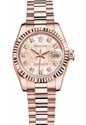 LADY-DATEJUST Oyster Everose gold , M179175F-0003 26 mm