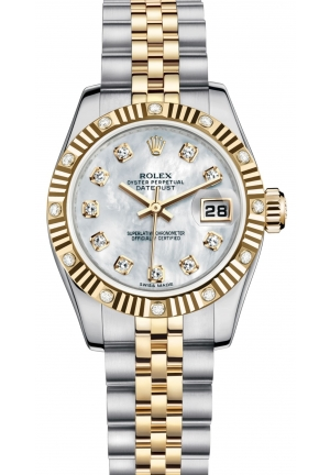 LADY-DATEJUST Oyster steel, yellow gold and diamonds , M179313-0018 26 mm