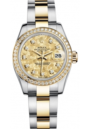 LADY-DATEJUST Oyster steel, yellow gold and diamonds , M179383-0007 26 mm