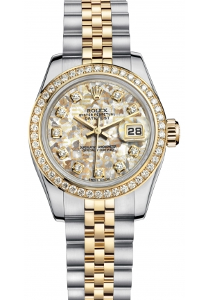 LADY-DATEJUST Oyster steel, yellow gold and diamonds , M179383-0010 26 mm