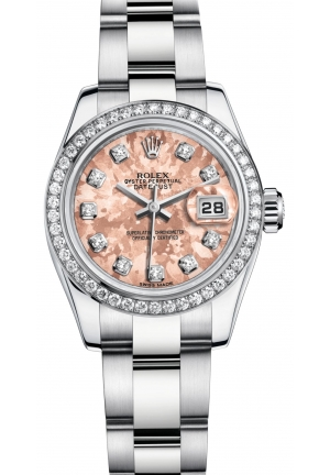 LADY-DATEJUST Oyster steel, white gold and diamonds , M179384-0007 26 mm