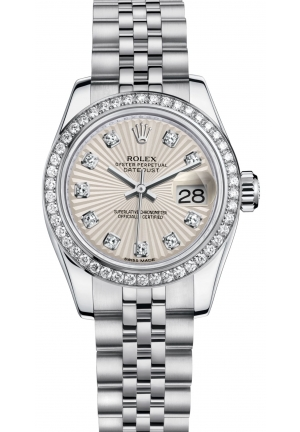 LADY-DATEJUST Oyster steel, white gold and diamonds , M179384-0011 26 mm,