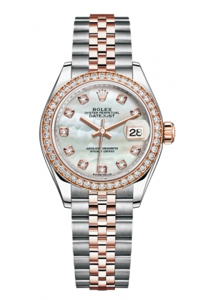Rolex Lady-Datejust 28 Mother of Pearl Dial, Steel and 18k Everose Gold President Bracelet Women's Watch