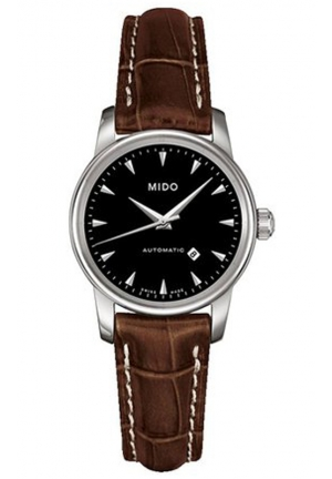 Mido Baroncelli Automatic Black Dial Brown Leather Ladies Watch M7600.4.18.8 29mm