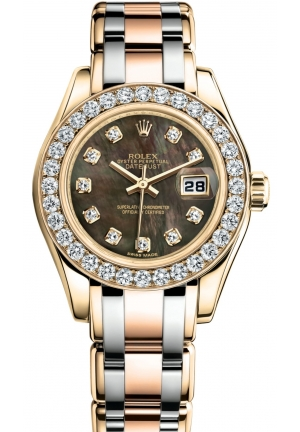 LADY-DATEJUST PEARLMASTER Oyster yellow gold and diamonds , M80298-0002 29 mm