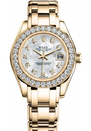 LADY-DATEJUST PEARLMASTER Oyster yellow gold and diamonds M80298-0070  29 mm